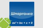 Шпаргалка по математике для Android