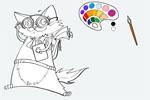 Он-лайн раскраска Кот фломастер